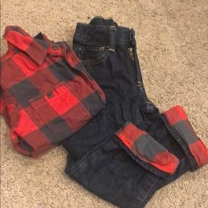 Gap lined flannel denim outfit